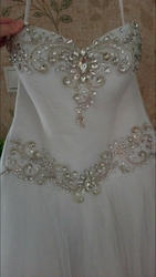свадебное платье с перчатками и подъюбником